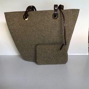 Banana Republic brown felted tote bag